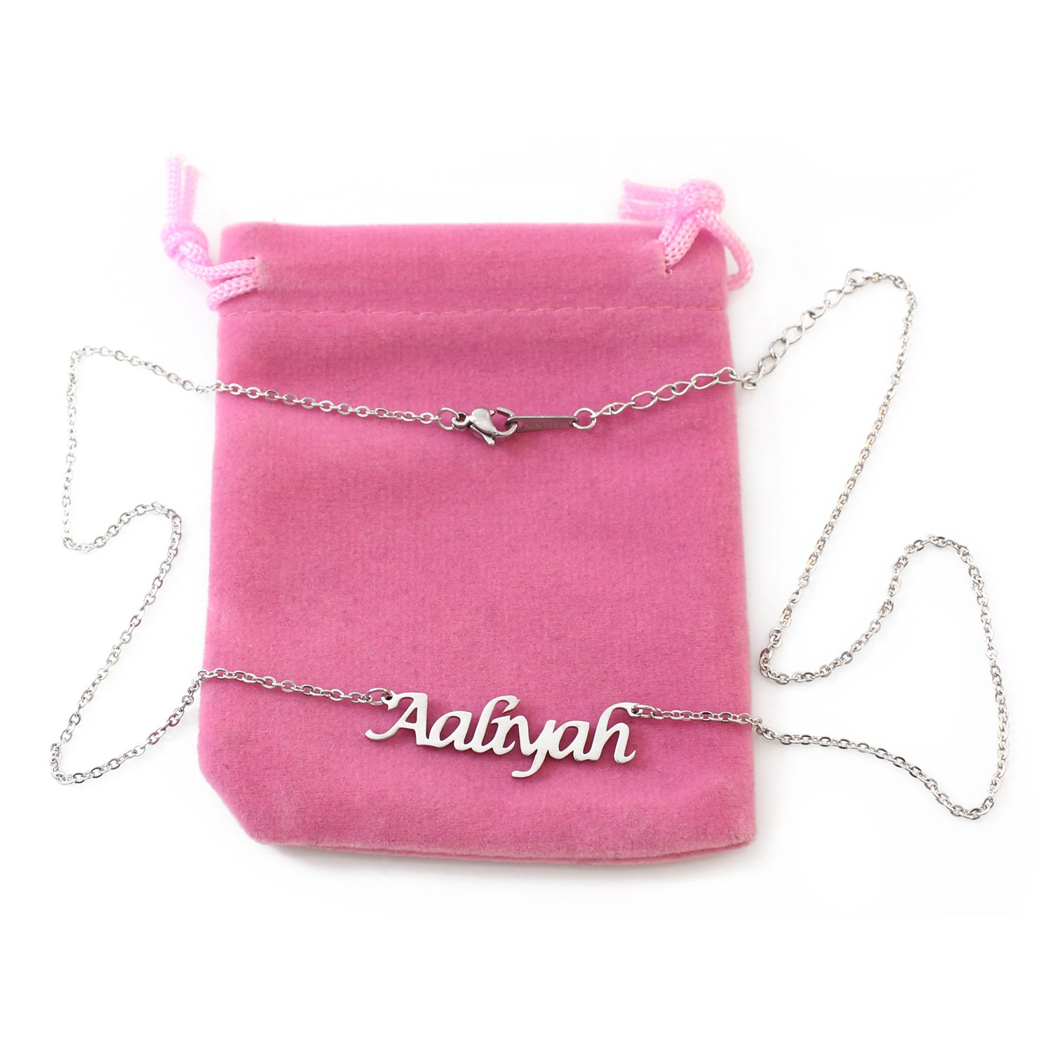 Zacria Aaliyah Silver Tone Name Necklace