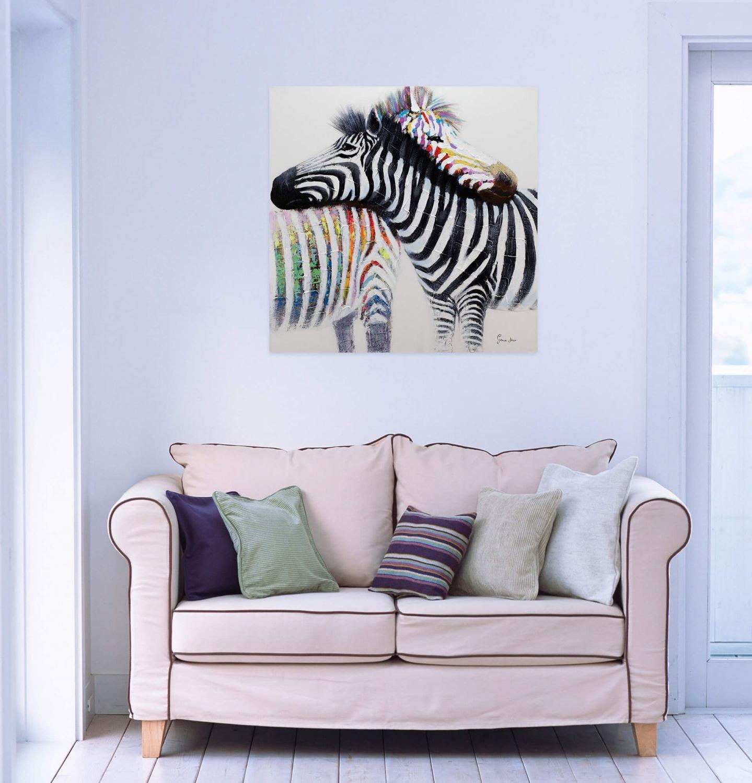 Amazon.de: KunstLoft® Acryl Gemälde \'Zebraliebe\' 80x80cm | original ...