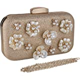 ECOSUSI Oval Glitter Crystal Floral Hard Case Clutch Elegant Beaded Evening Bags Proms Wallet