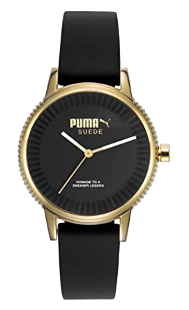 Puma PU104252002 Womens Black Silicone Black Dial