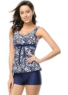 OUO Damen UV schutz Badeanzug swimwear Badekleid strandkleid Tankini mit kurz  Hose Badehose Badeshort Wassersport f767405b90