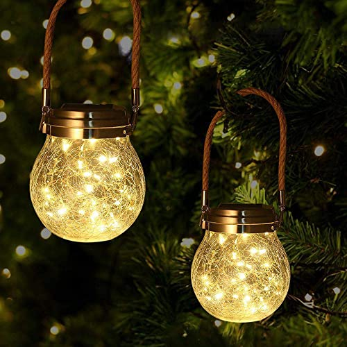 2 Pack Solar Lanterns Lights Outdoor Hanging 30 LEDs,Crackled Glass Jar Solar Table Lantern Lamps,Waterproof Solar Tree Lanterns for Patio Backyard Garden Pathway Halloween Christmas Deck-Warm Light