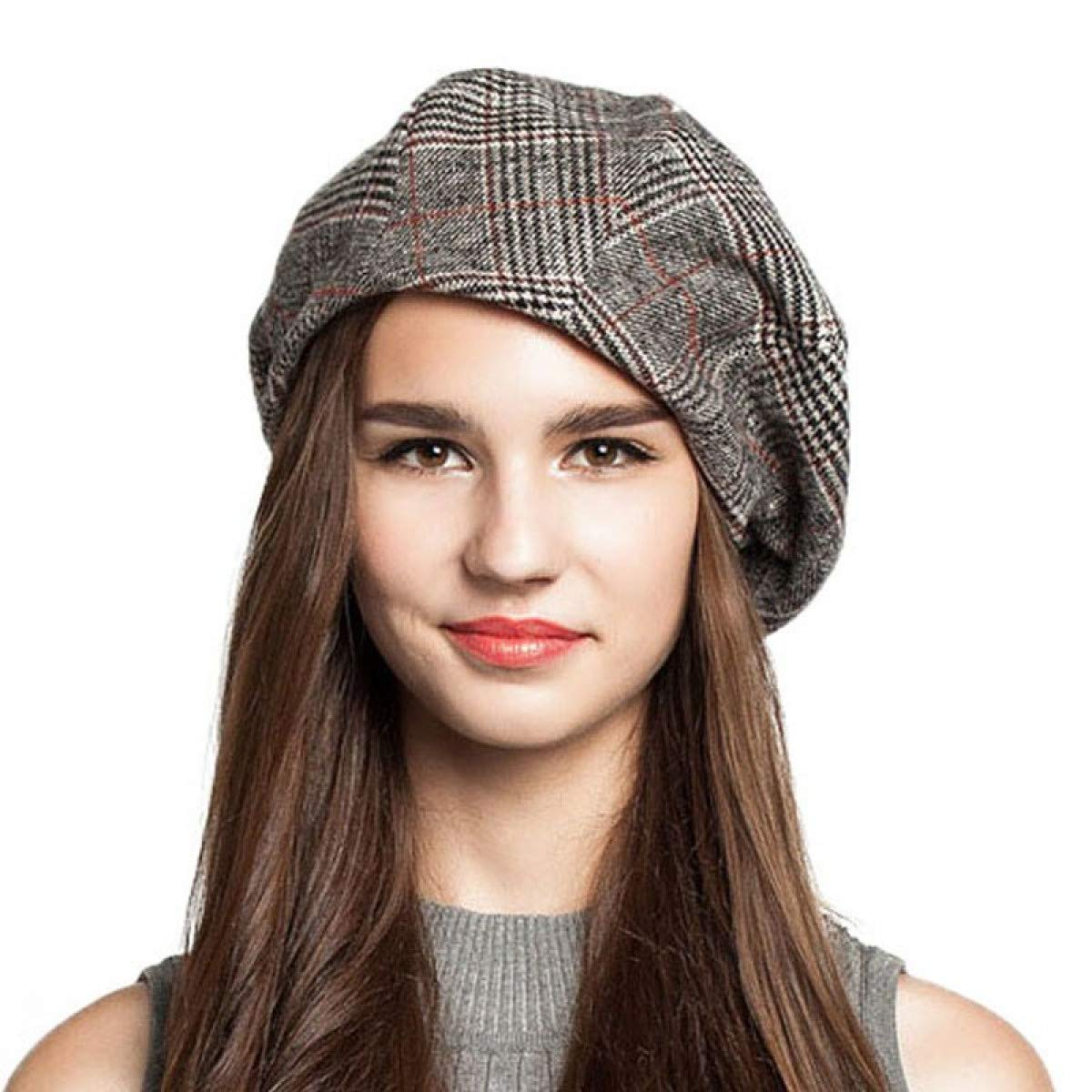 WEEKEND SHOP Beanie hat French Artist Beret Hat for Women Female Winter Fashion Black Blue Brown Plaid Wool Thick Berets Painter Octagonal Hats Caps Brown