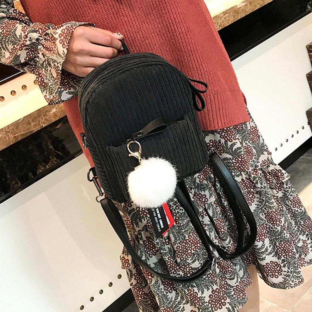 8027d17b288 Zibuyu Korean Women Mini Backpacks Stripes Corduroy Pack School Small  Bag(Black)  Amazon.in  Bags