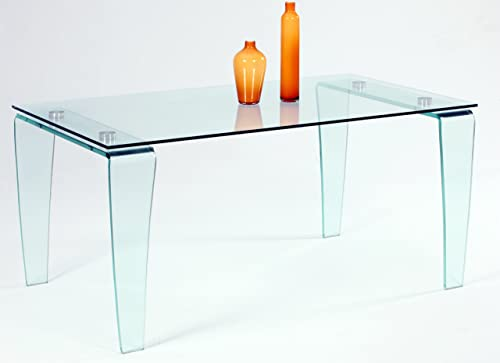 Milan Venus Clear Glass Modern Dining Table