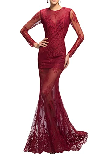 Sunvary Burgundy Lace Mermaid Mother of The Bride Dresses with Long Sleeves Size 17W- Burgundy