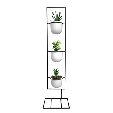 Indoor Metal Vertical Plant Stand with 3 White Ceramic Pots | Iron Flower Pot Holder Rack | Outdoor Decor | Potted Steel Planter Garden Container Display | 23 Bees