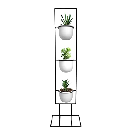 Indoor Metal Vertical Plant Stand with 3 White Ceramic Pots | Iron Flower Pot Holder Rack  sc 1 st  Amazon.com & Amazon.com : Indoor Metal Vertical Plant Stand with 3 White Ceramic ...