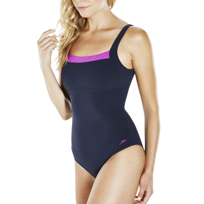 50eb543f043 Speedo Womens Sculpture Contour Renew Swimsuit in Navy/Purple.: Speedo:  Amazon.com.au: Fashion
