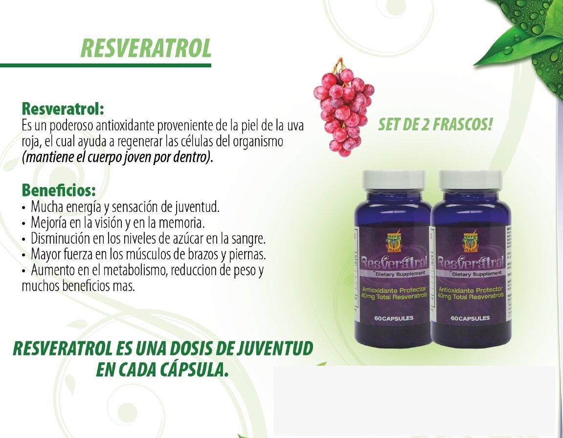 Amazon.com: Resveratrol alta potencia. Set de 2 Frascos con 60 gelcaps c/u. Poderoso antioxidante natural. Regenerador celular anti edad, mantiene joven y ...