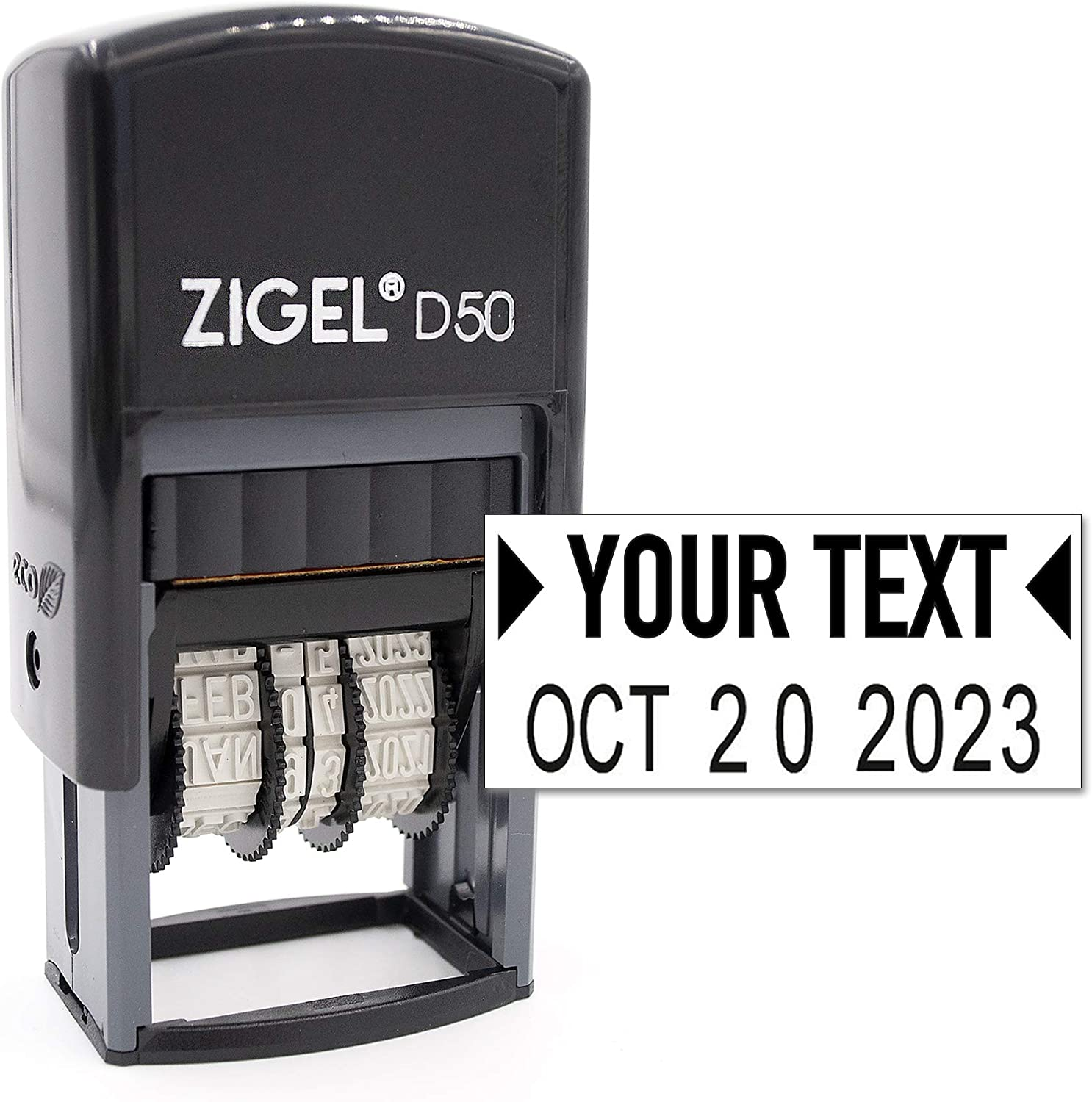 ZIGEL D50 Date Stamp with Your Custom Text - Self Inking Date Stamp - Black