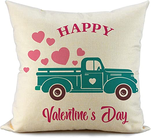 AENEY Valentines Pillow Cover 18x18 for Couch Truck Love Red Sweet Heart Happy Valentines Day Decorations Throw Pillow Home Decor Pillowcase Faux Linen Cushion Case Sofa A177