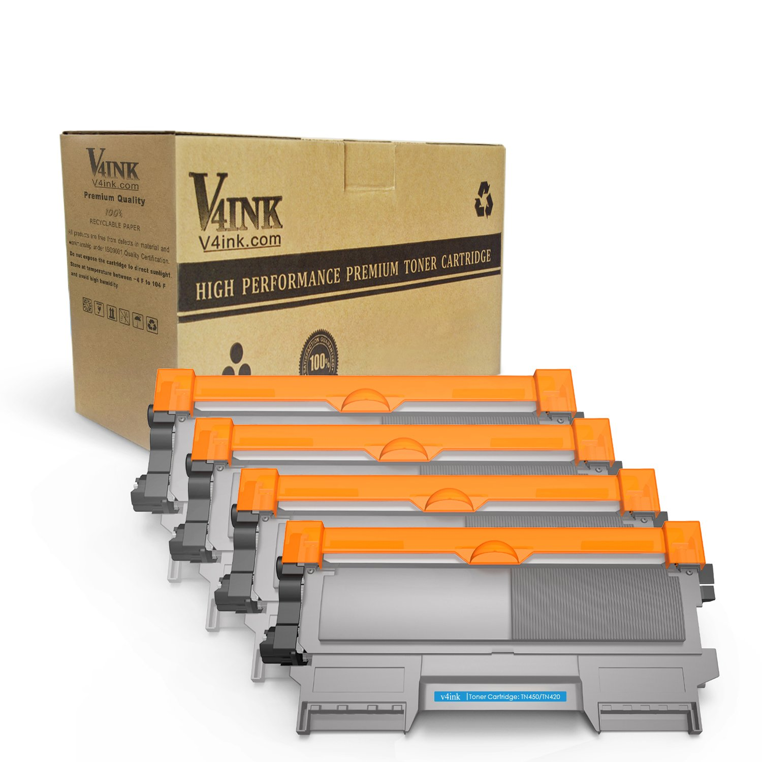 V4INK 4 Pack New Replacement for Brother TN450 TN-450 TN-420 Toner Cartridge for Use with Brother HL-2270dw HL-2280dw HL-2240d MFC-7360n MFC-7860dw Series Printer