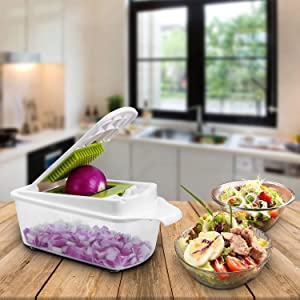 Vegetable Chopper Dicer Mandoline Slicer - Food Chopper Vegetable Spiralizer Vegetable Slicer Peeler - Onion Chopper Salad Chopper Veggie Chopper Vegetable Cutter Food Slicer (White)