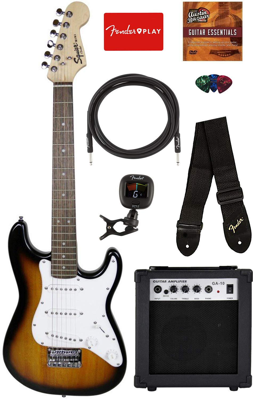 Squier by Fender Mini Strat Electric Guitar - Brown Sunburst Bundle with Amplifier, Instrument Cable, Tuner, Strap, Picks, Fender Play Online Lessons, and Austin Bazaar Instructional DVD by Austin Bazaar