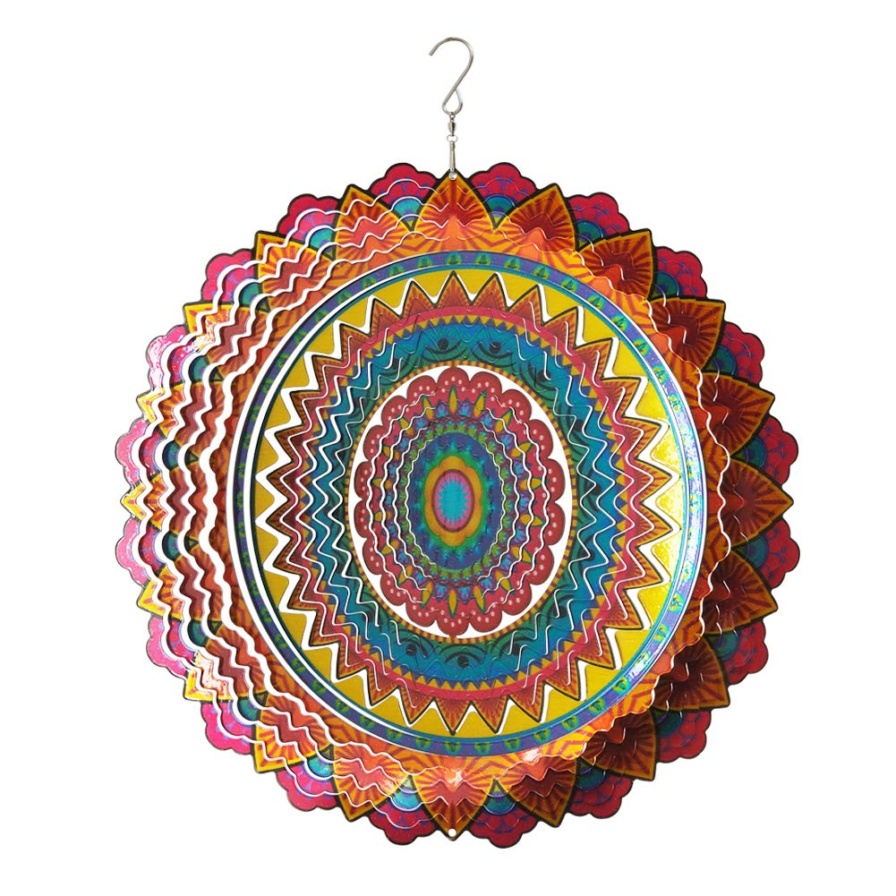 """Fonmy Stainless Steel Wind Spinner-3D, Laser Cut Hand Painted with Color Sparkling Powders, Indoor Outdoor Garden Decoration Crafts Ornaments, Multi Color Mandala -12"""" inch"""