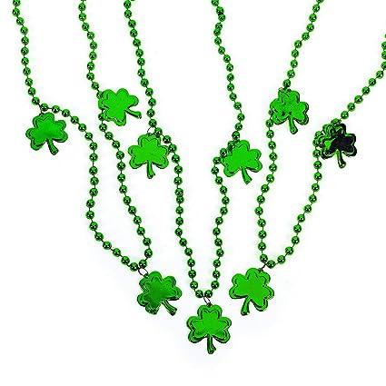 "Green 28/"" Beaded Shamrock Clover Plastic Necklace"