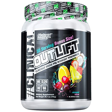 Nutrex Research Oulift Bonus Size | Clinically Dosed Pre-Workout Powerhouse, Citrulline, BCAA, Creatine, Beta-Alanine, Taurine, Banned Substance Free ...