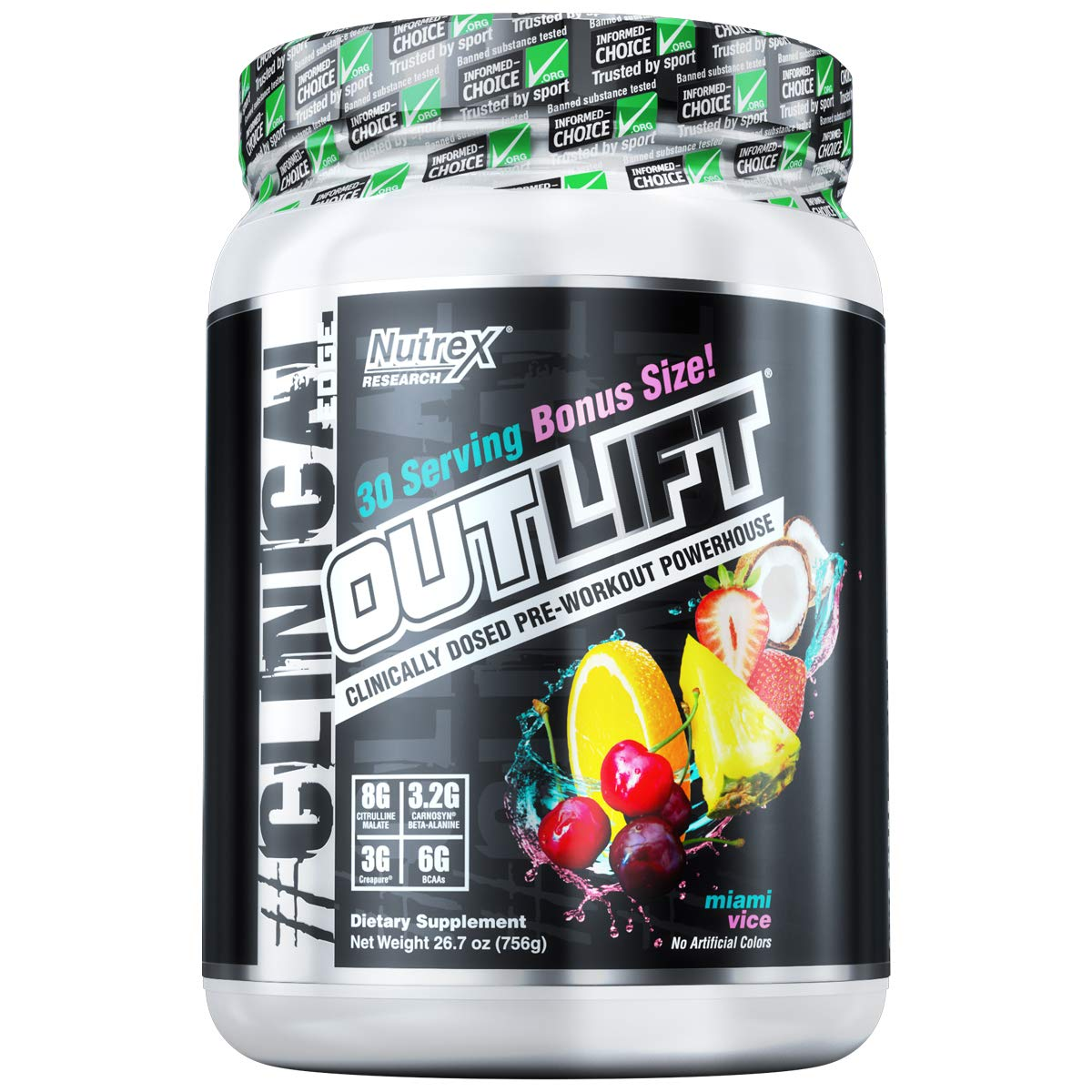 Nutrex Research Outlift Bonus Size | Clinically Dosed Pre-Workout Powerhouse, Citrulline, BCAA, Creatine, Beta-Alanine, Taurine, 0 Banned Substances| Miami Vice | 30 Servings