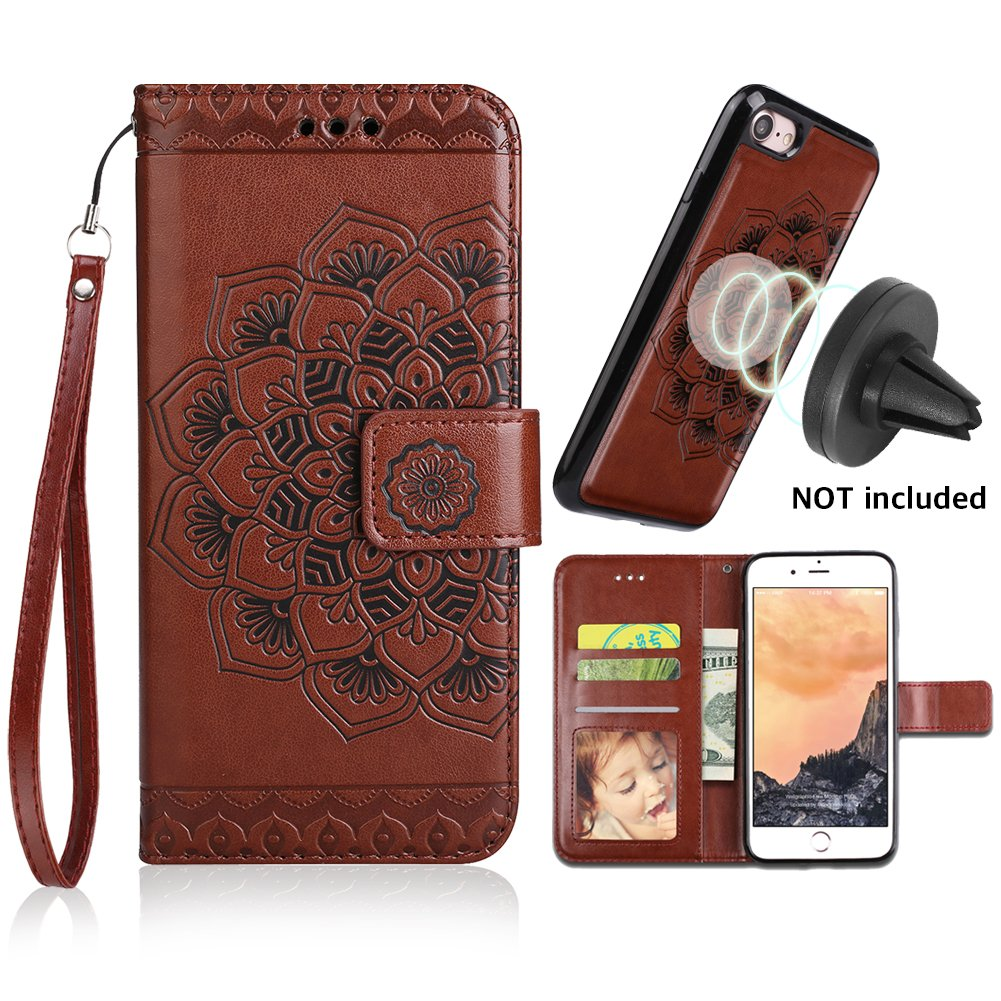 iPhone 6s Plus Case,iPhone 6 Plus Flip Embossed Leather Wallet Cases with Protective Detachable Slim Case Fit Car Mount,CASEOWL Mandala Flower Design with Card Slots, Strap for iPhone 6/6s Plus[Brown]