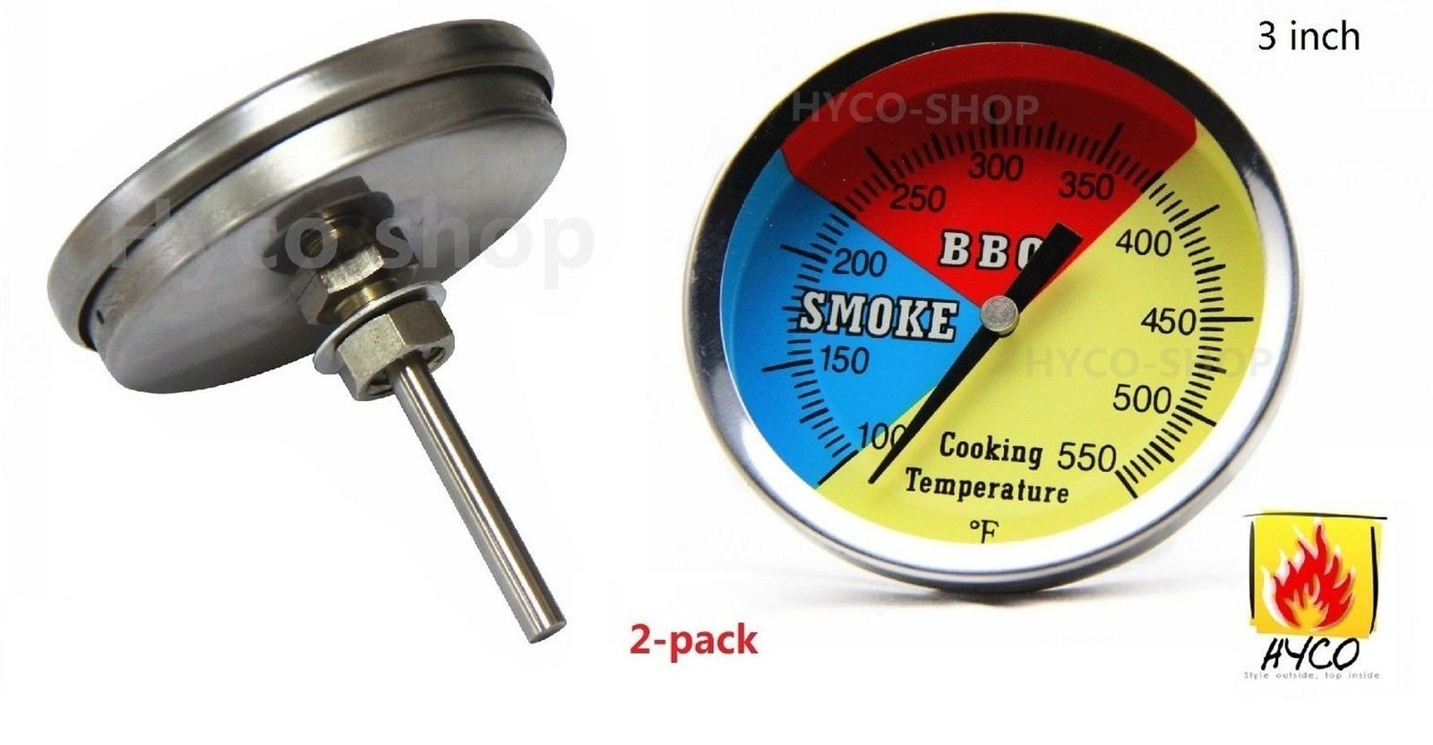 NEW 3'' 550F (2-pack) Grill and Smoker Thermometer, Heat Indicator, Temp Gauge