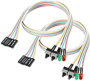Electop 2 Pack ATX Power Supply Switch Cable,27 inch LED Light HDD Cable for PC Computer Motherboard,Reset Re-Starting On and Off Switch Wire