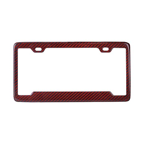 1 Frame BLVD-LPF OBEY YOUR LUXURY  Real 100/% Red Carbon Fiber Motorcycle License Plate Frame with Matching Screw Caps