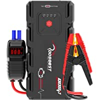 Rooboost™ 2000A Peak Car Jump Starter (Up to 10L Gas or 8L Diesel), USB Quick Charge 3.0, Digital Smart Jumper Cable…
