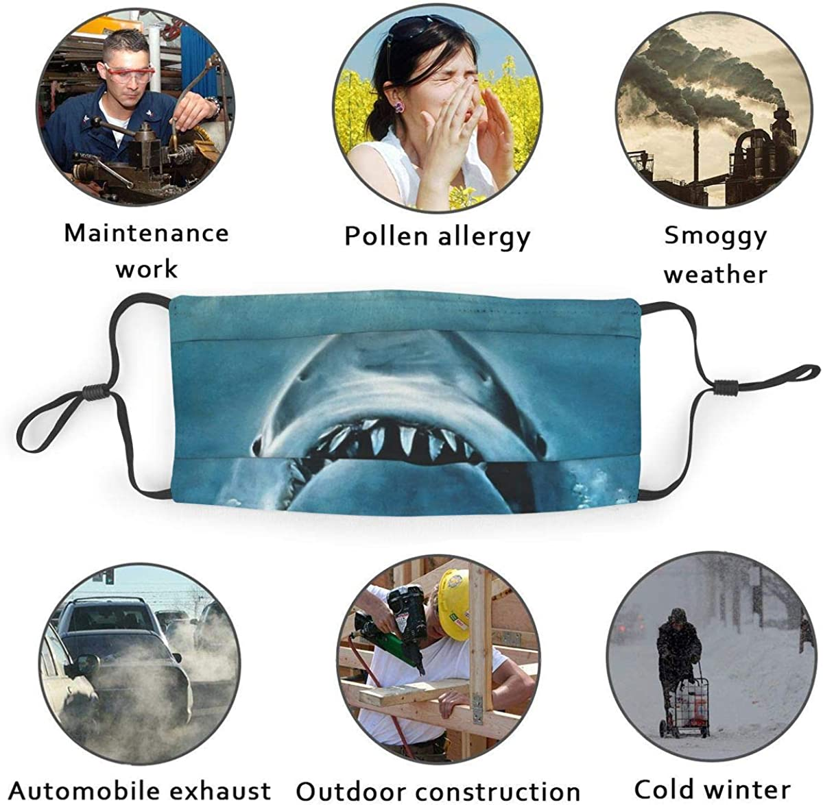 926 Grunge Style Big and Small Sharks with Open Mouths Predator Jaws Dangerous Image Dust Washable Reusable Filter and Reusable Mouth Warm Windproof Cotton Face