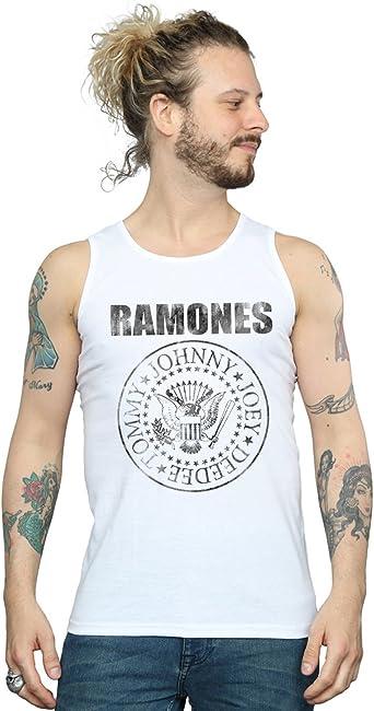 Ramones Hombre Distressed Black Seal Camiseta Sin Mangas