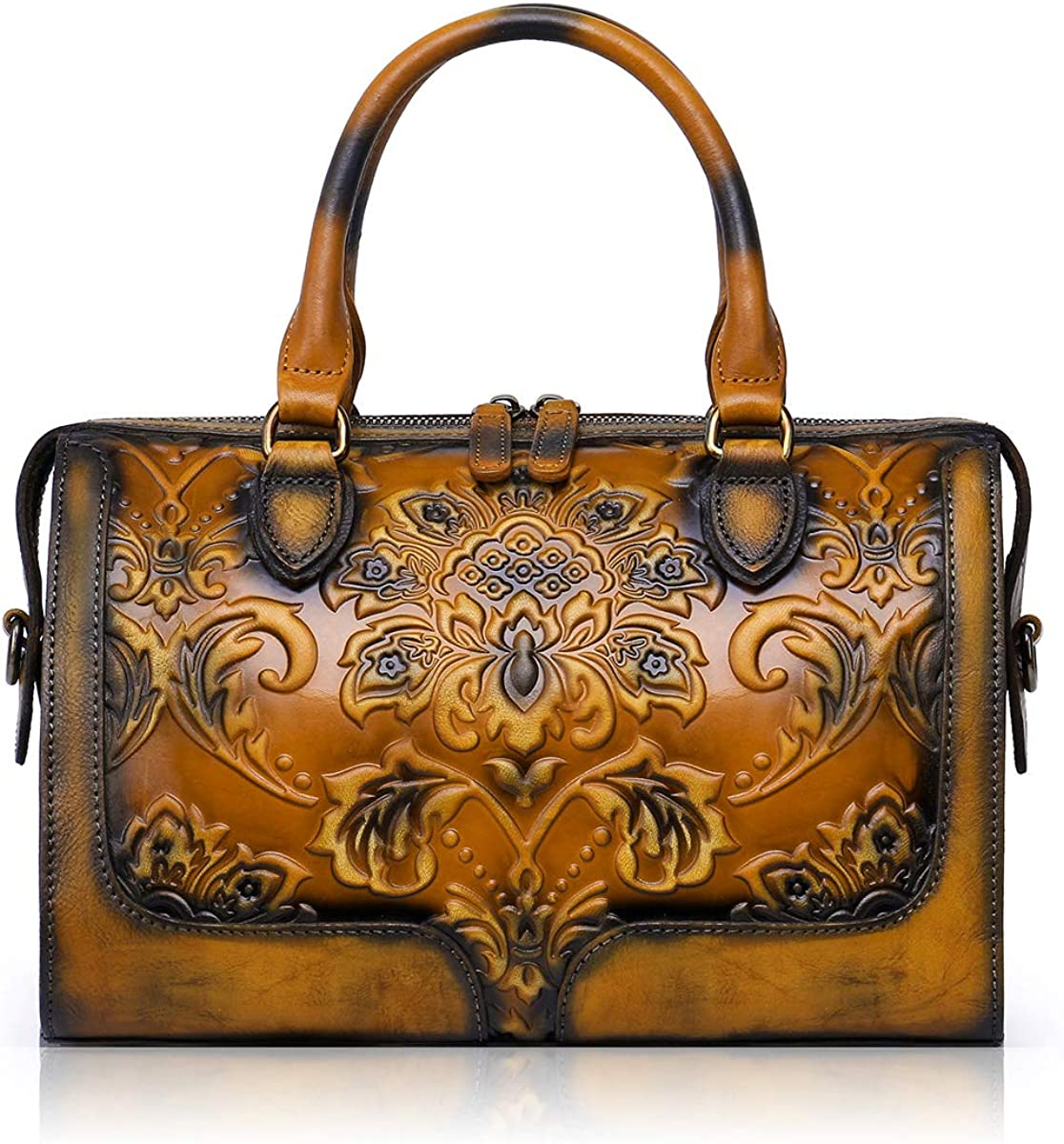 APHISON Designer Hand Bags Unique Embossed Floral Women's Leather Handbags (BROWN)