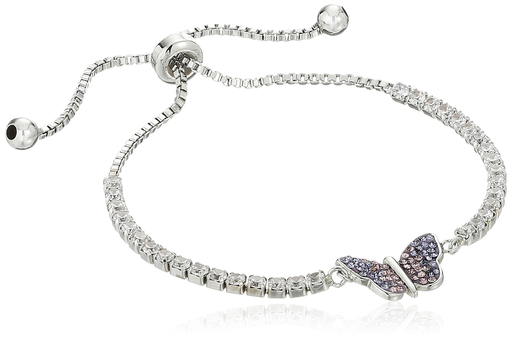 Silver Plated Crystal Purple Ombre Butterfly Adjustable Bracelet