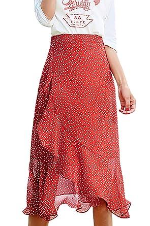 Falda De Verano Mujer Casual Lunares Faldas Chiffon Elegantes Moda ...