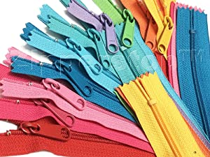 "ZipperStop Distributor YKK ZipperStop Wholesale Authorized Distributor Sale 14"" Handbag Assorted Season Colors YKK #4.5 with Extra-Long Pull (10 Zippers/Pack), Duplicate Brites, Lights,Dark,neons.hot"