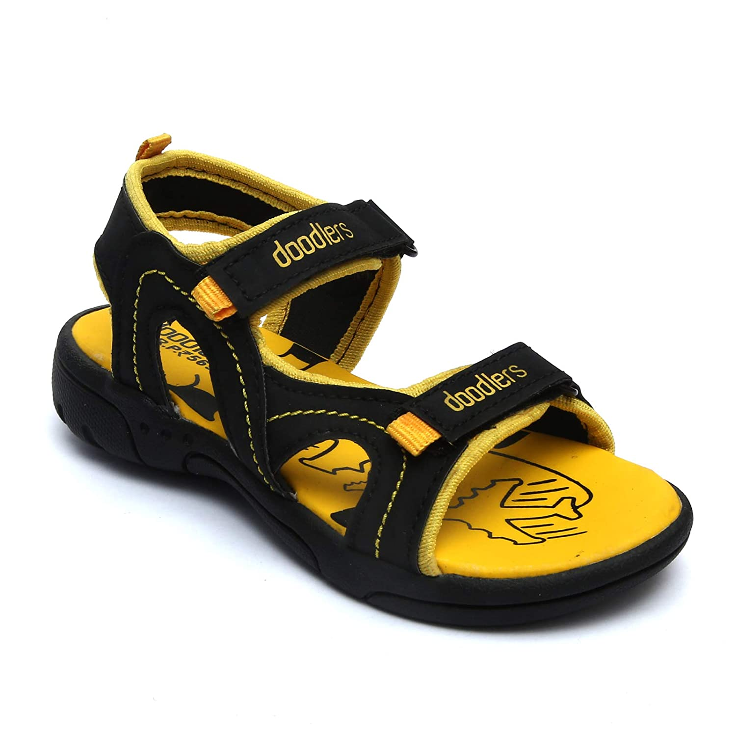 Doodlers Yellow and Black Sandals for