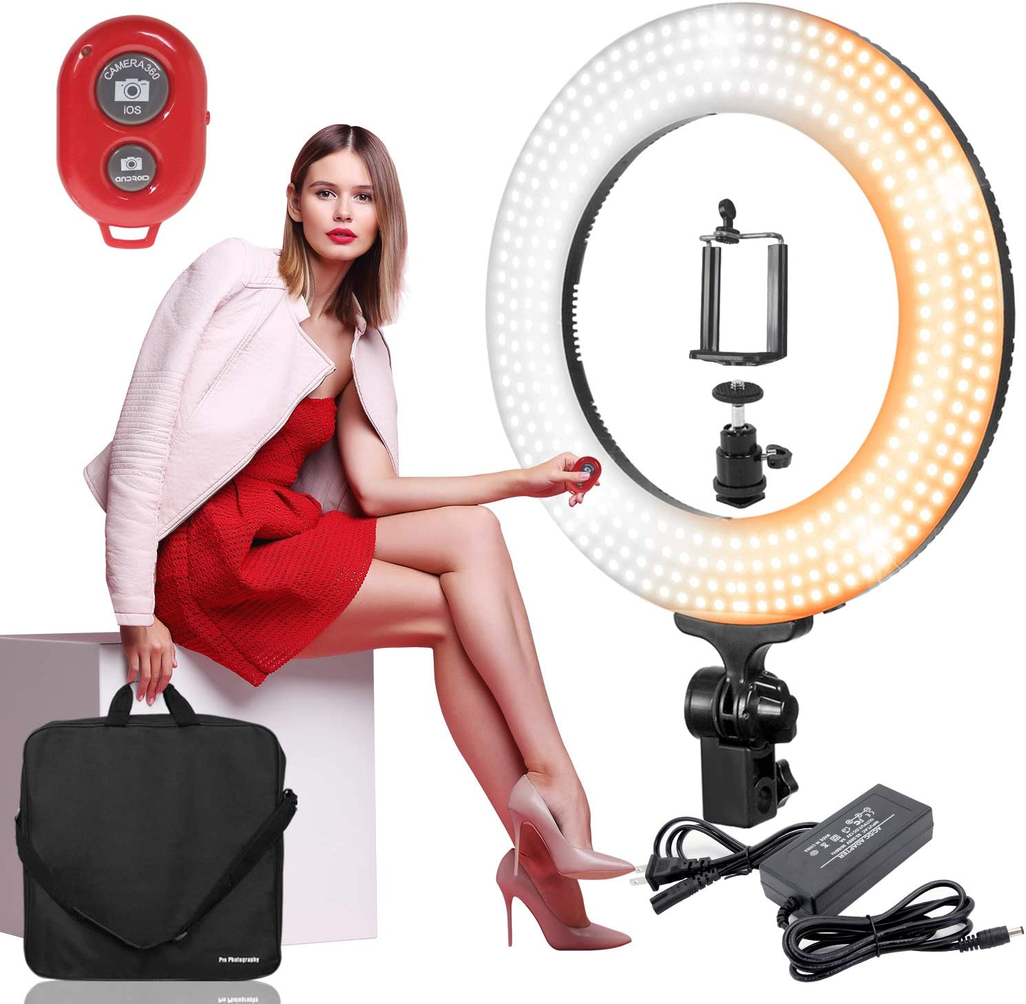 Cold//Warm Dual Color Dimmable Continuous Lighting for Beauty Facial Shoot with Bluetooth Remote Camera Shutter PROMOAGG2818/_V2 LimoStudio 14 LED Round Ring Light