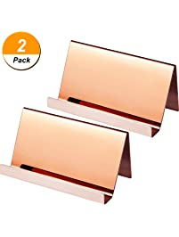 Business card holders amazon office school supplies desk maxdot 2 pack stainless steel business cards holders desktop card display business card rack organizer reheart Choice Image