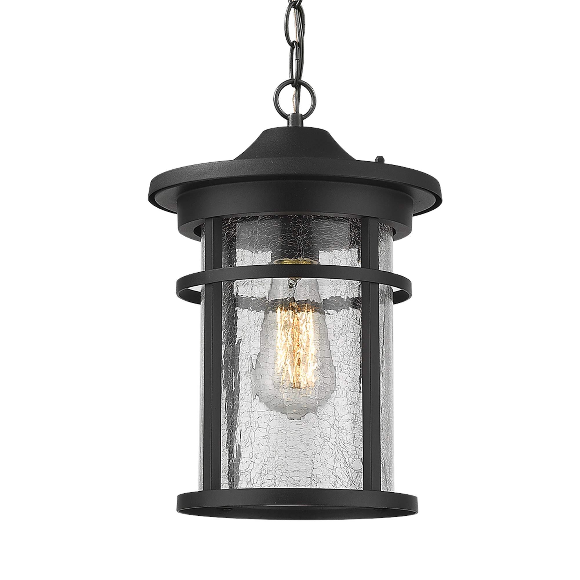 Emliviar Outdoor Hanging Lantern Light Fixture, 1-Light Exterior Pendant Porch Light in Black Finish with Crackle Glass, A208511D1 by EMLIVIAR