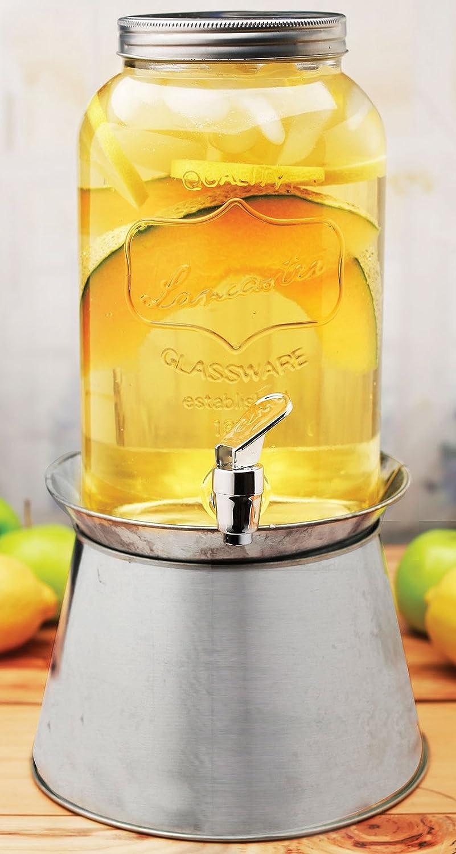 Palais Glassware® High Quality Clear Mason Jar Beverage Dispenser - Traditional Tin Screw Off Lid - 1 Gallon Capacity