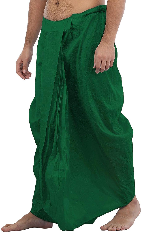 Maenner-Dhoti-Dupion-Silk-Plain-handgefertigt-fuer-Pooja-Casual-Hochzeit-Wear Indexbild 8
