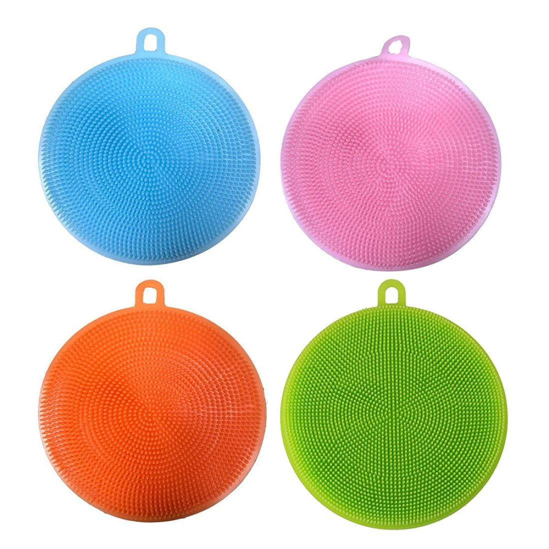 NXDA Pack of 4 Silicone Dish Washing Sponge Scrubber Kitchen Cleaning Antibacterial Tool, 14X13X2CM (4)