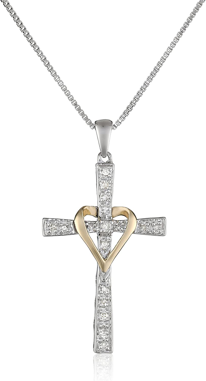 Sterling Silver and 14k Yellow Gold Diamond Cross and Heart...