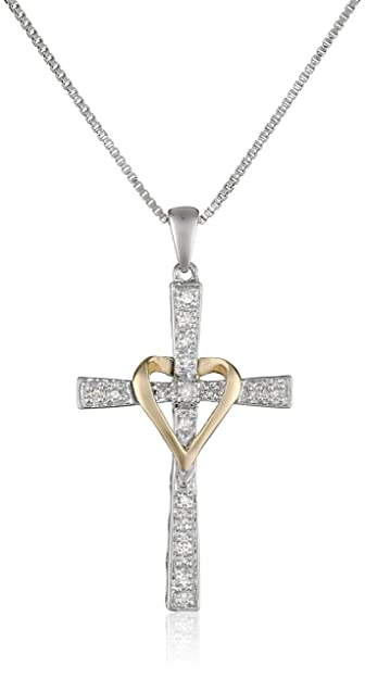 Amazon sterling silver and 14k yellow gold diamond cross and sterling silver and 14k yellow gold diamond cross and heart pendant necklace 18quot aloadofball Images