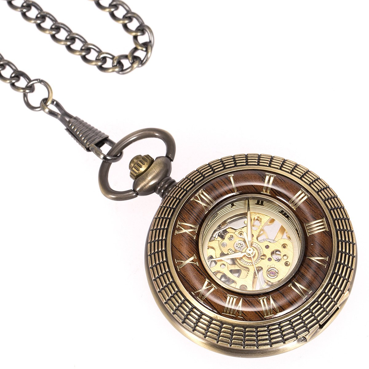 ManChDa Mens imitative wood Luminous Skeleton Mechanical Roman Numerals Pocket Watch With Chain Gift by ManChDa (Image #3)