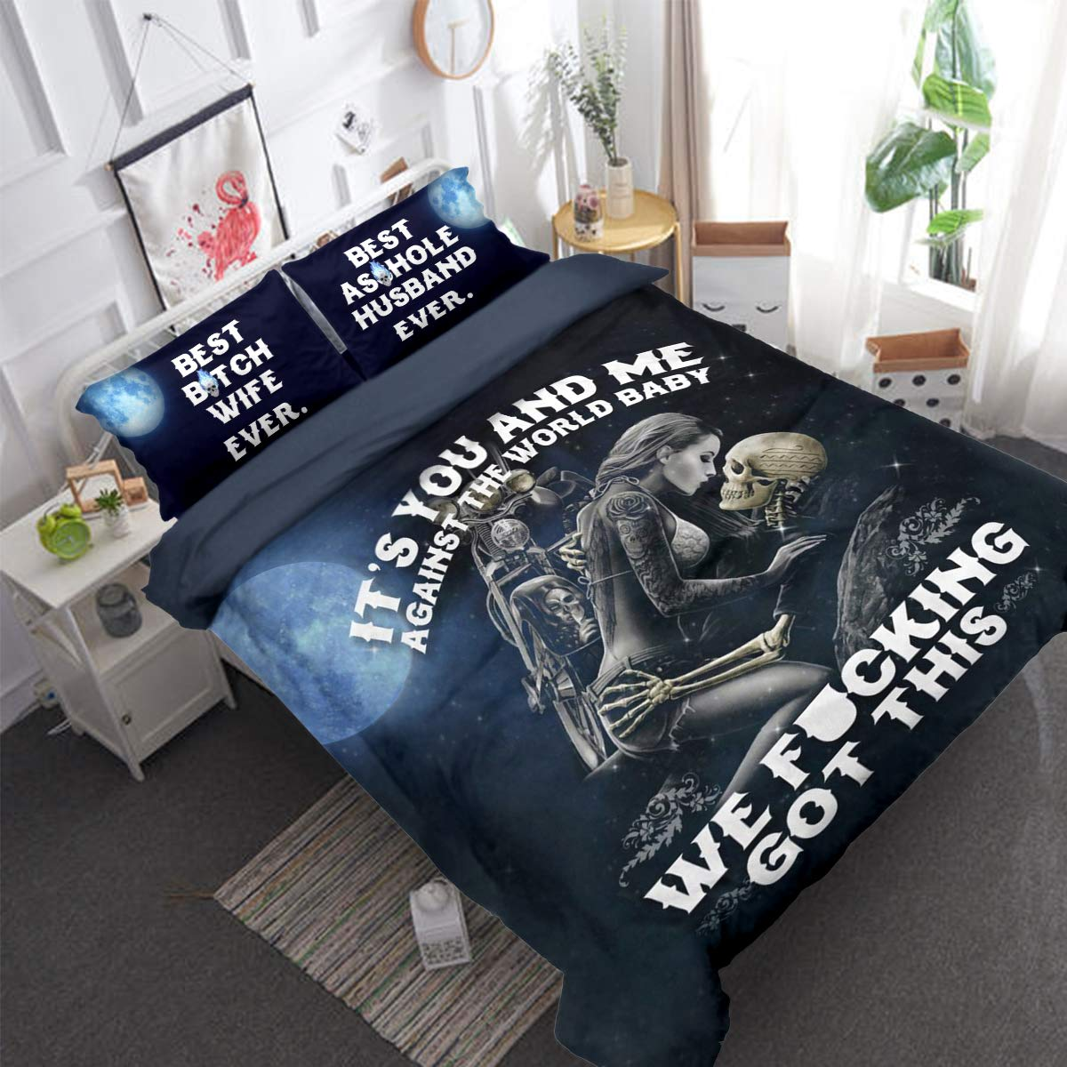 3D Skull Duvet Cover King Size My Love for You Will Never Die Baby Printed Bedding Duvet Cover with Zipper Closure Ties for Adults Soft Microfiber Multicolor Wongs Bedding