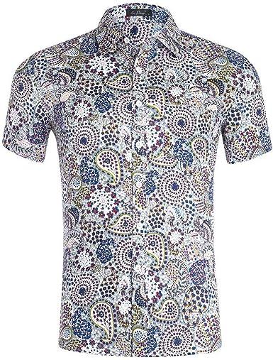 Mimihuhu Funky Camisa Hawaiana Señores Camisa de Fiesta Estampada Estilo Playera Casuales Suave Cómodo Tops (C, XL): Amazon.es: Ropa y accesorios