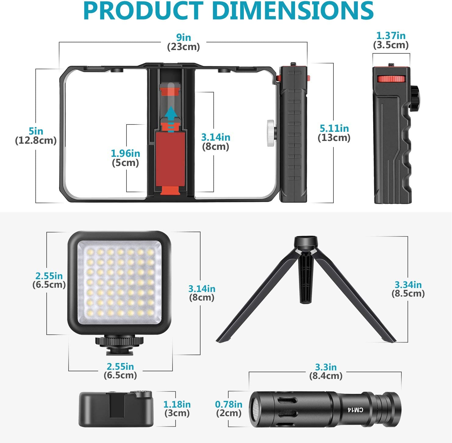 LED Video Light Mini Tripod Compatible with iPhone Samsung and Most Phones for Filmmaking Videomakers Neewer Smartphone Video Rig Kit Smartphone Video Grip Stabilizer with Microphone
