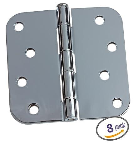 Dynasty Hardware 4u0026quot; Door Hinges 5/8u0026quot; Radius Corner, Polished  Chrome,