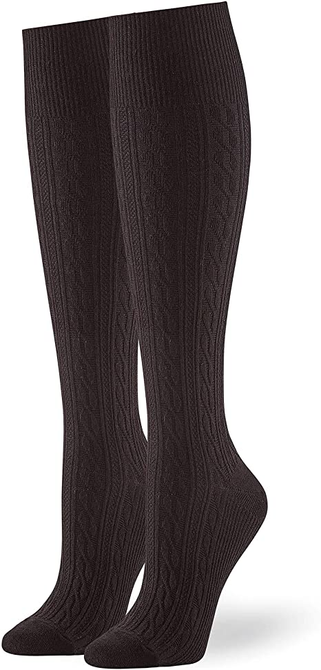 Assorted HUE Womens Graduated Compression Knee Hi Socks 3 Pair Pack