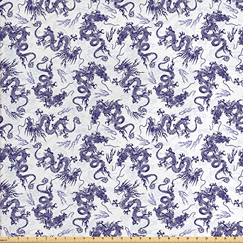 Dragon Valance - Lunarable Dragon Fabric by the Yard, Japanese Dragon Illustration Head Covered in Fire Ferocious Oriental Pattern, Decorative Fabric for Upholstery and Home Accents, White Dark Violet